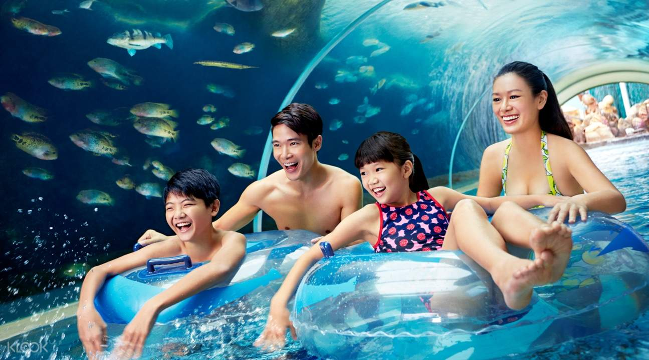a family enjoying a ride somewhere in Adventure Cove Waterpark